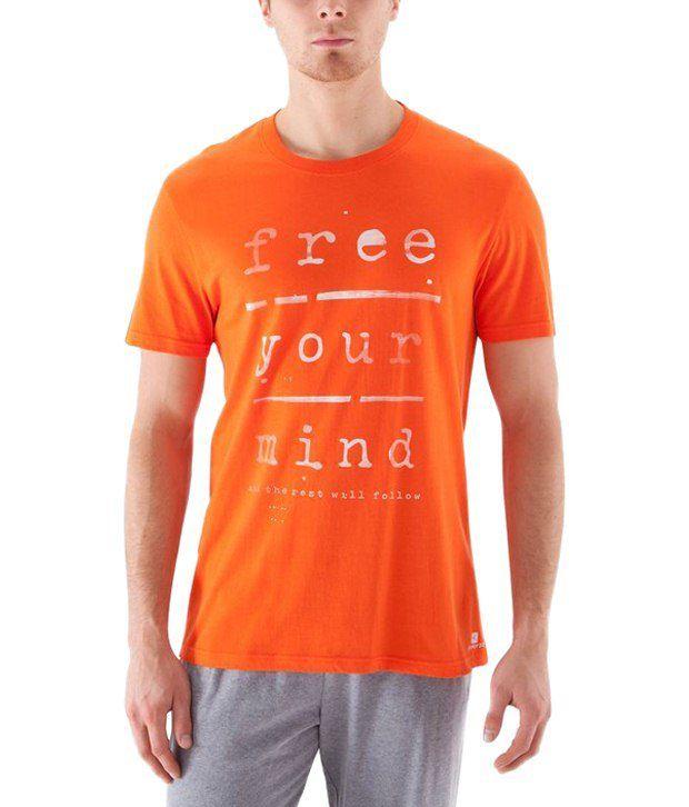 Domyos Orange & White Printed Fitness T Shirt