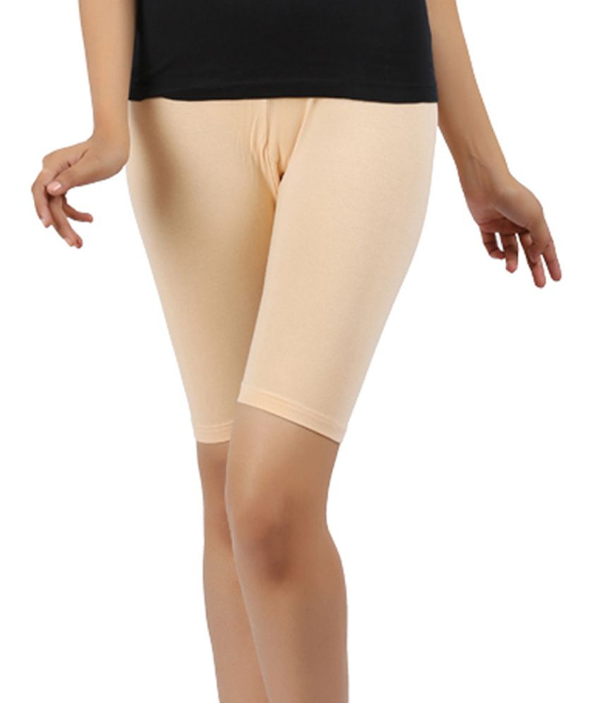 Rhamgold Beige Cotton Lycra Shorts