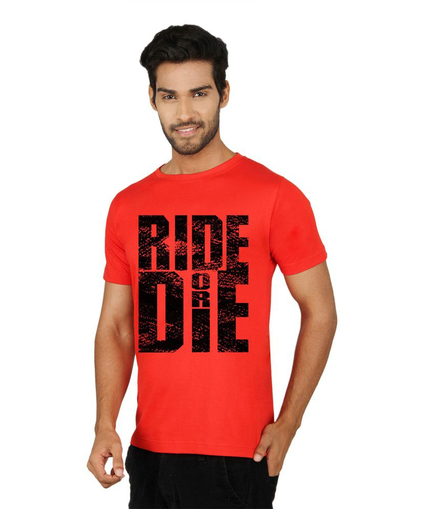 Sayitloud Red Cotton Round Neck Printed Half Sleeves T-Shirt