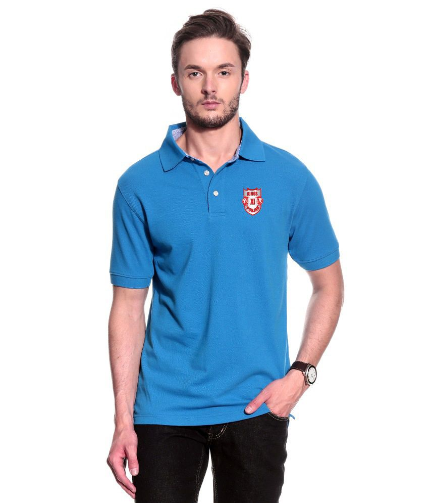 T10 Sports Blue KXIP IPL Signature Polo T- Shirt
