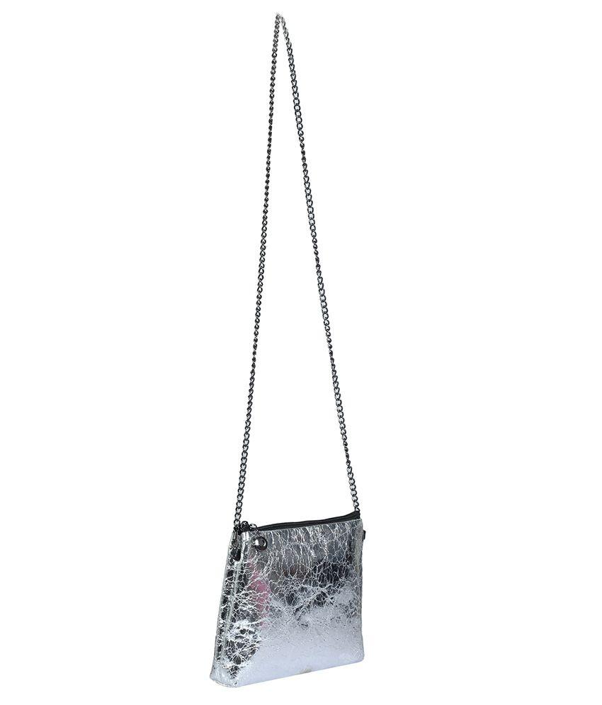 ToniQ Stylish Silver Sling Bag - Buy ToniQ Stylish Silver Sling ...