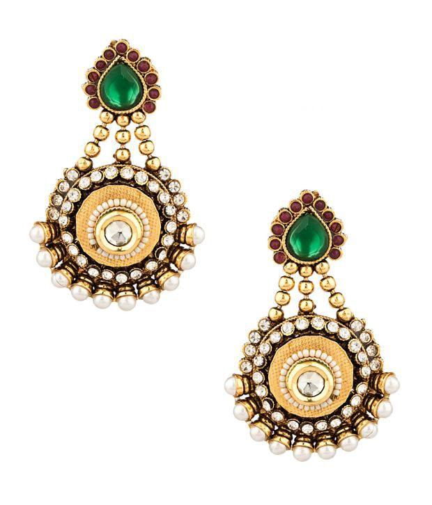 Voylla Regal Antique Hanging Earrings