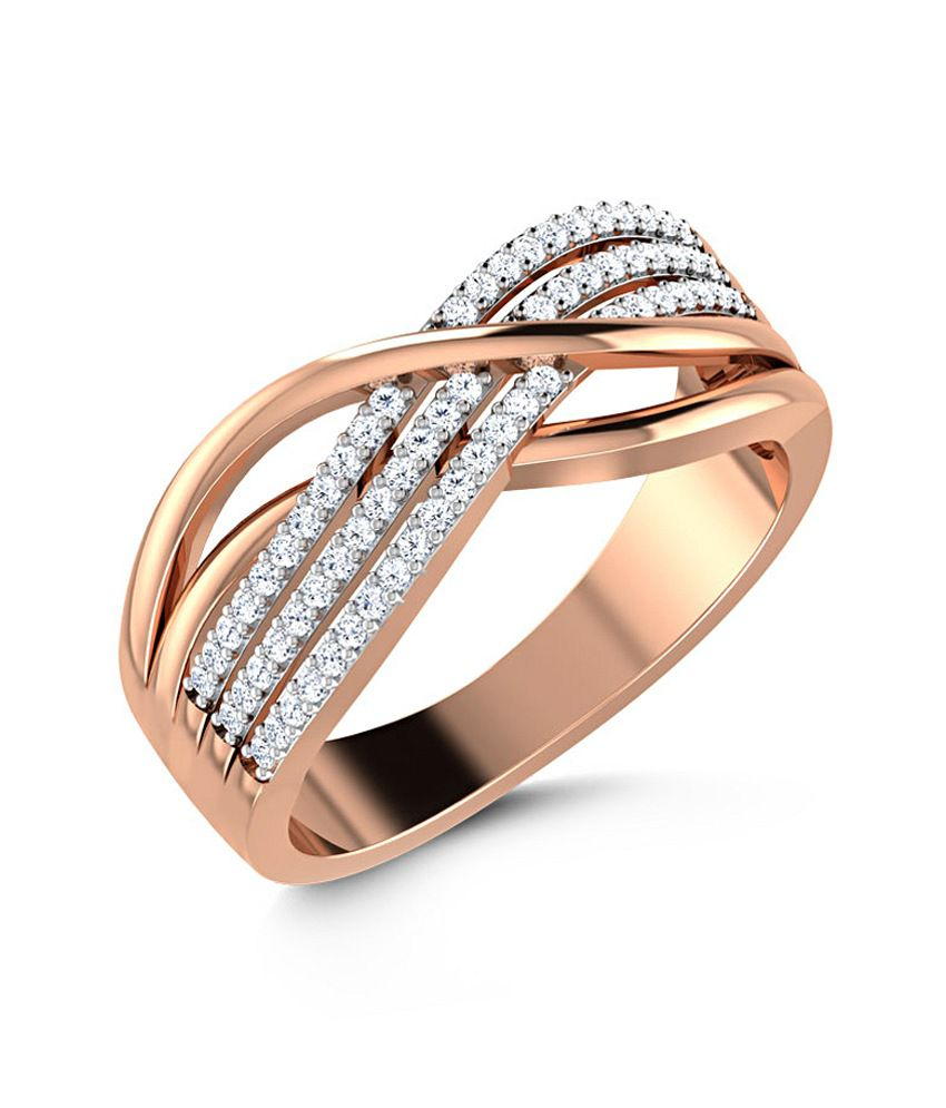 Caratlane 18 Kt Rose Gold Splendour Crossover Ring by CaraLane