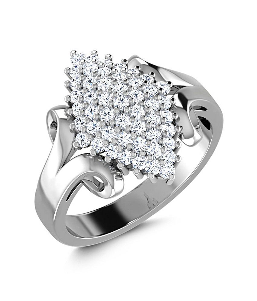 Caratlane 18 Kt White Gold Marquis Cluster Ring by CaraLane