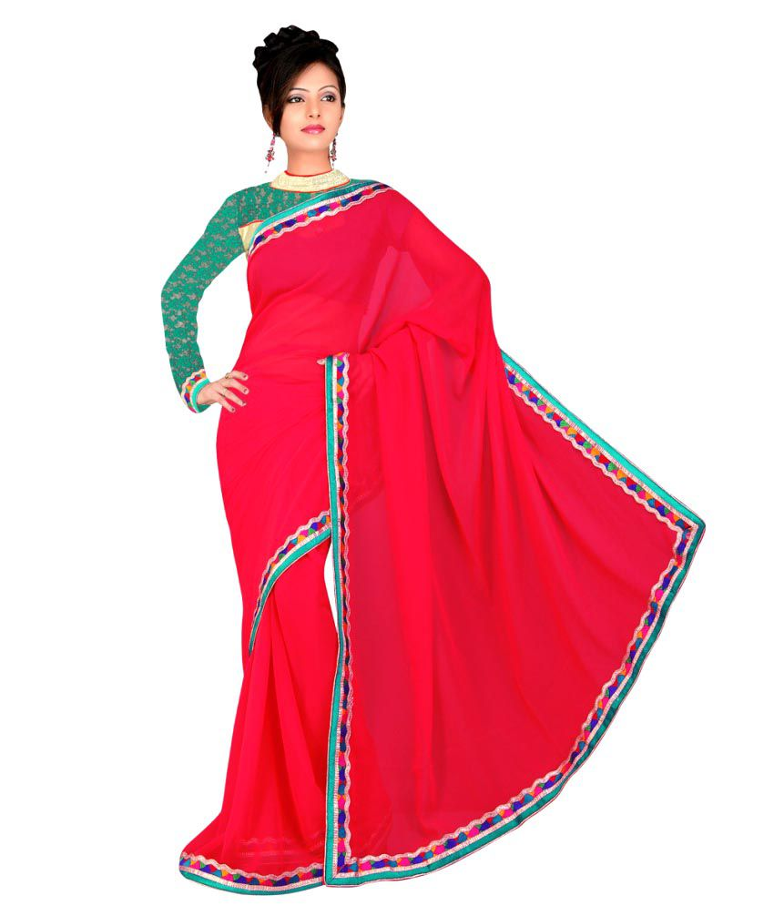 3 Buddy Fashion Red Faux Georgette Saree