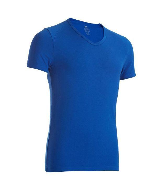 Domyos V Neck T-shirt Blue Fitness Apparel