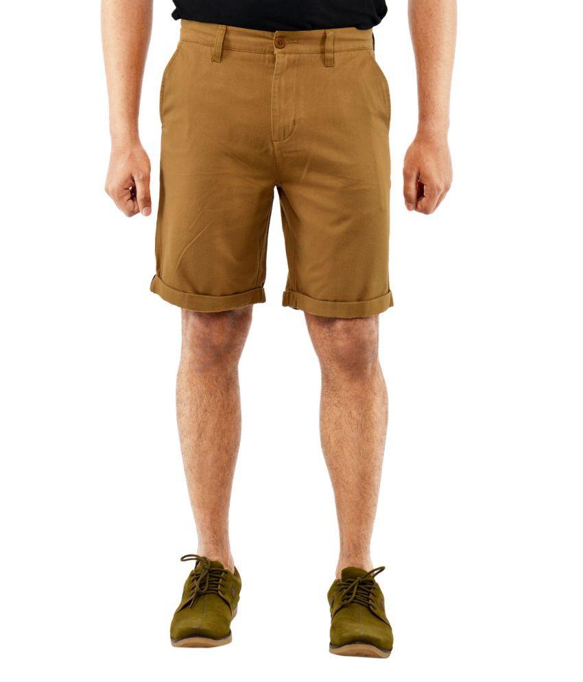 Blue Wave - Khaki Cotton Solid Men's Shorts