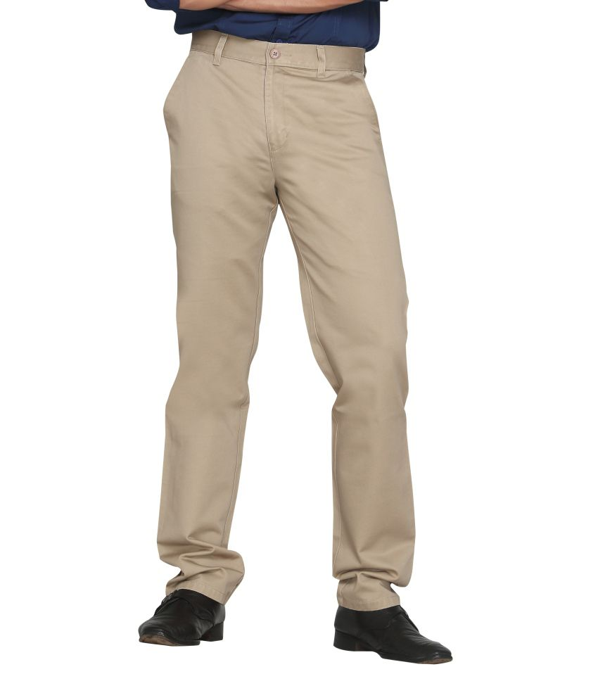 Canoe Beige Cotton Formal Trouser