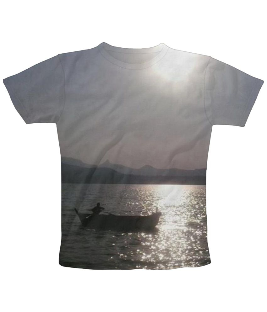 Freecultr Express Boating Graphic Gray Half Sleeve T Shirt