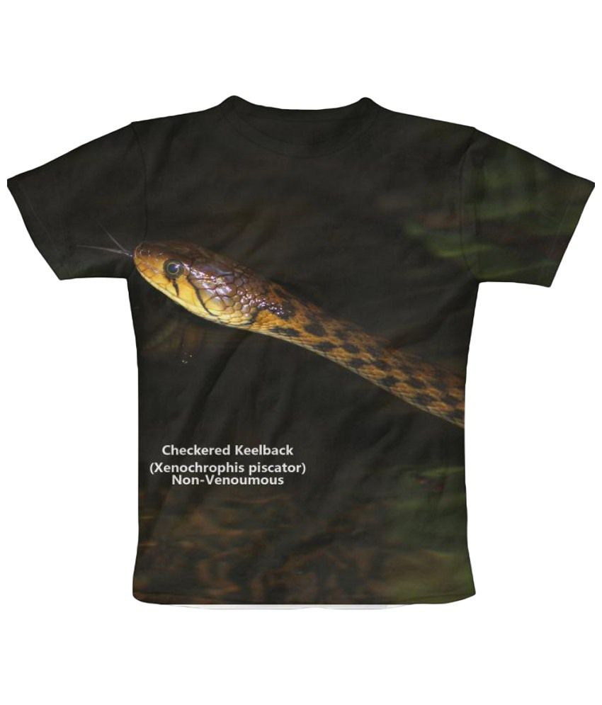 Freecultr Express Checkered Keelback Graphic Black & Yellow Half Sleeve T Shirt