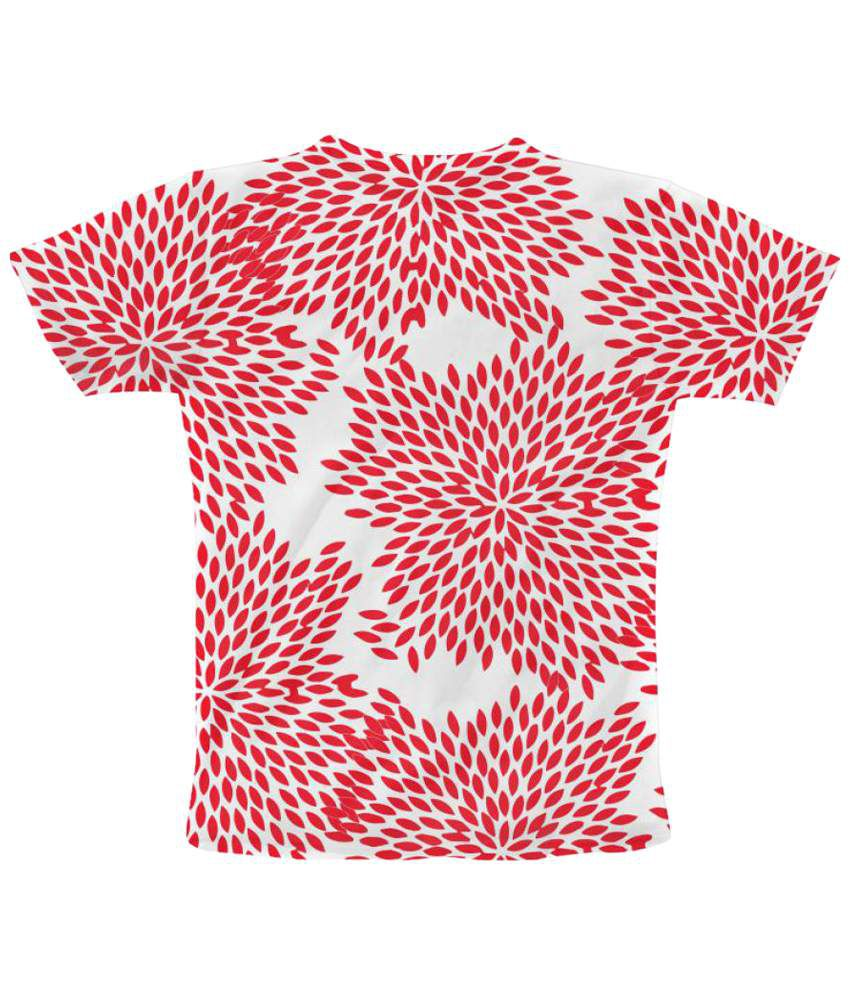 Freecultr Express Floral Print 5 Graphic Half Sleeve Red T Shirt