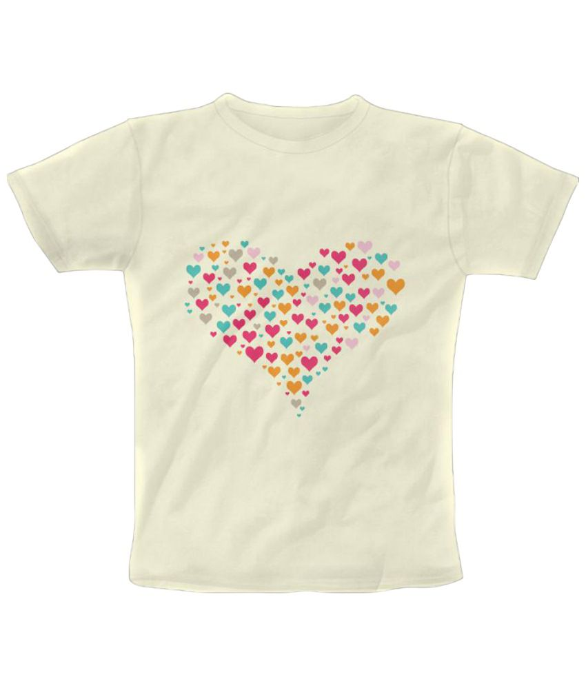 Freecultr Express Heart Colour Graphic GhostWhite & Pink Half Sleeve T Shirt