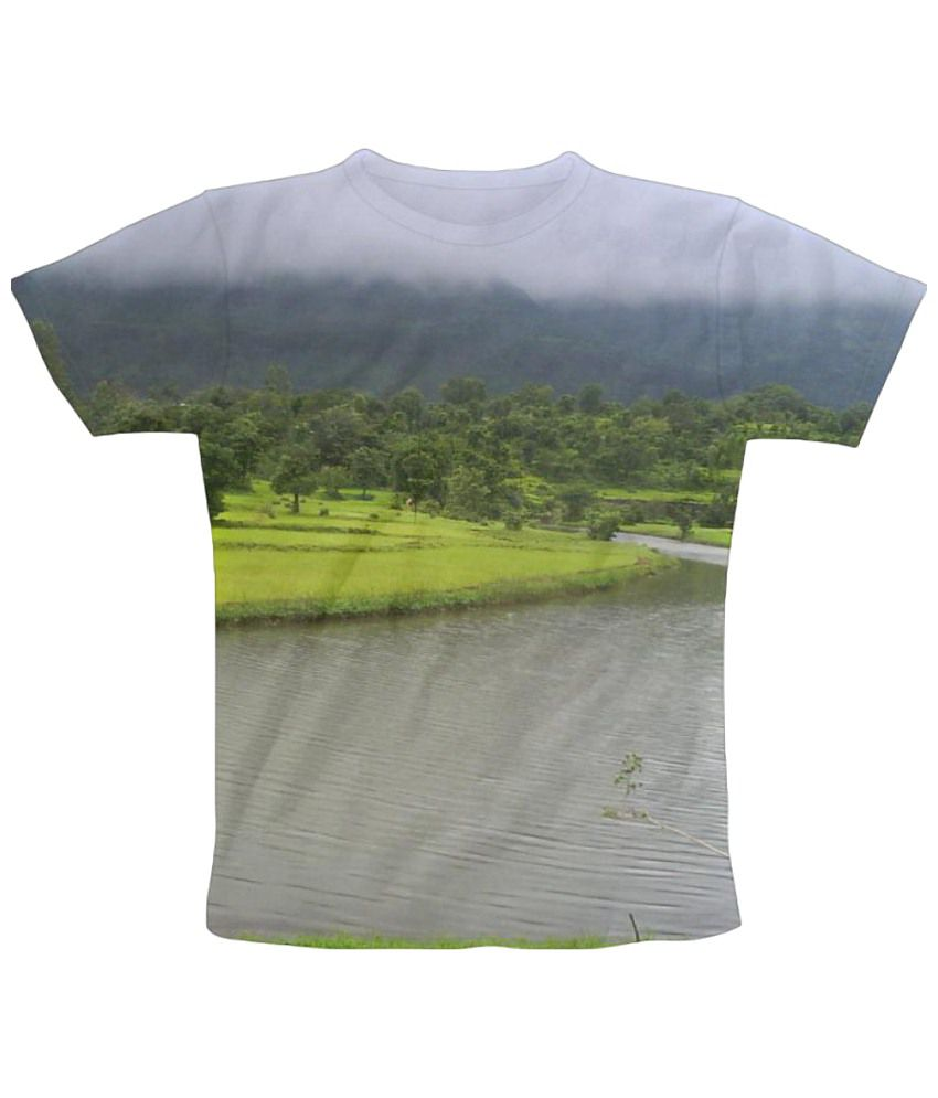 Freecultr Express Nature Beauty Graphic Green & Blue Half Sleeve T Shirt