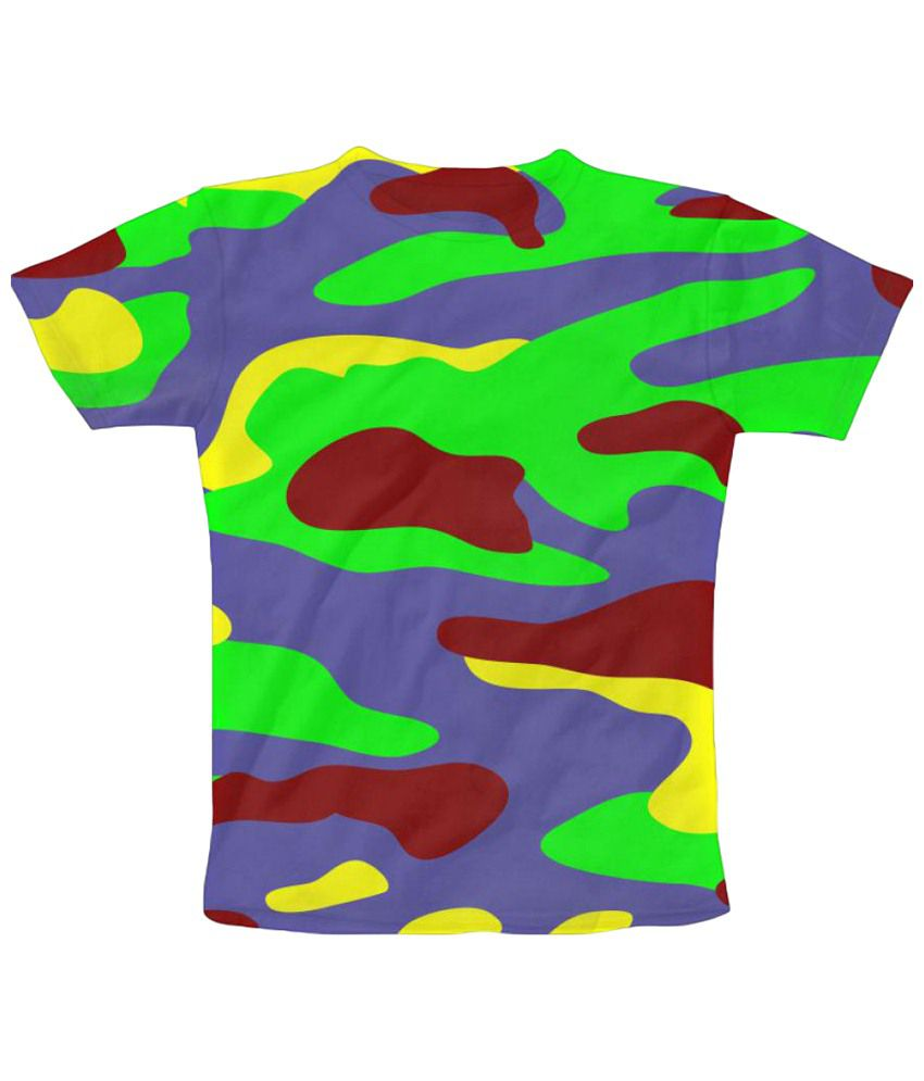 Freecultr Express Neon Camouflage Print Blue & Yellow Graphic T Shirt