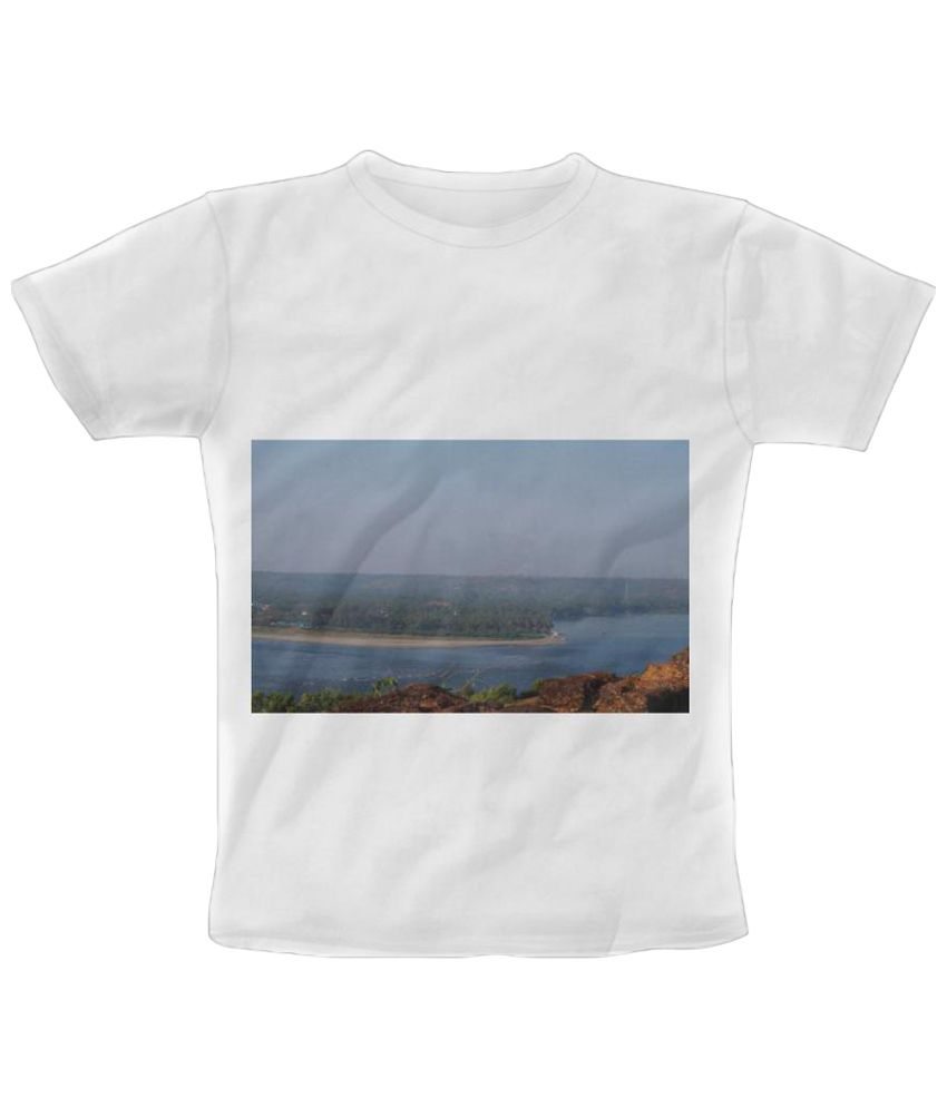 Freecultr Express White Landscape Graphic Print Half Sleeve T Shirt