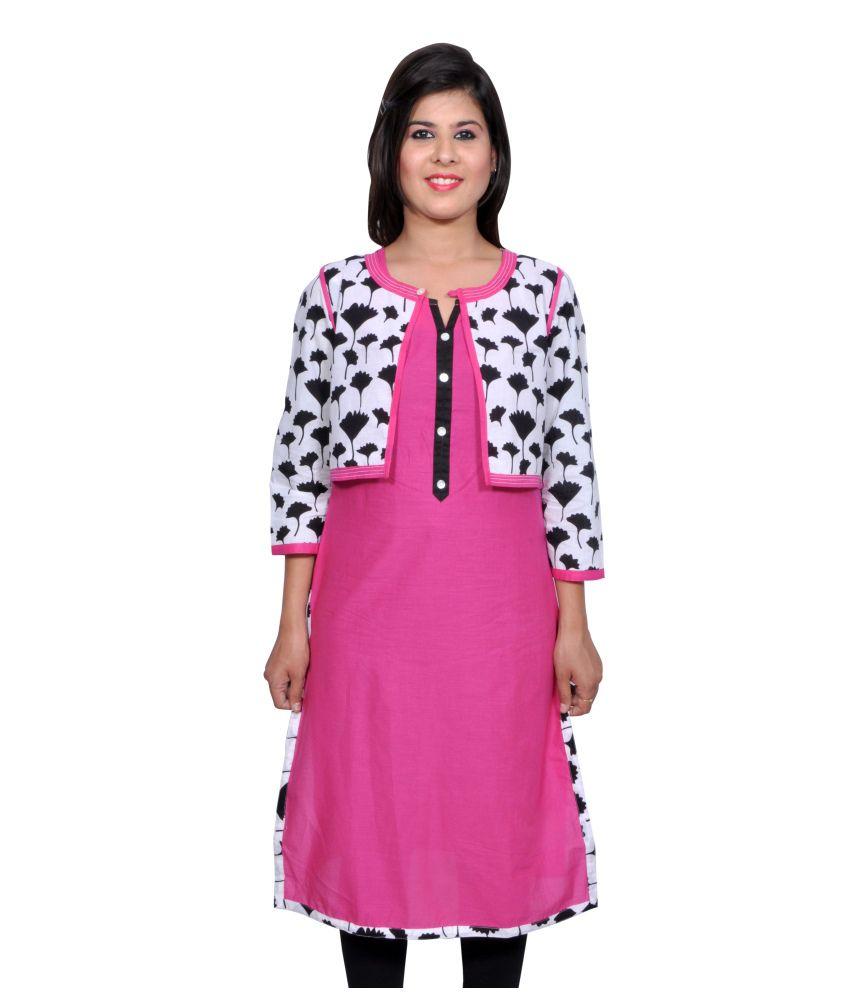 Vasudha Pink Cotton Solid Round Neck Kurti