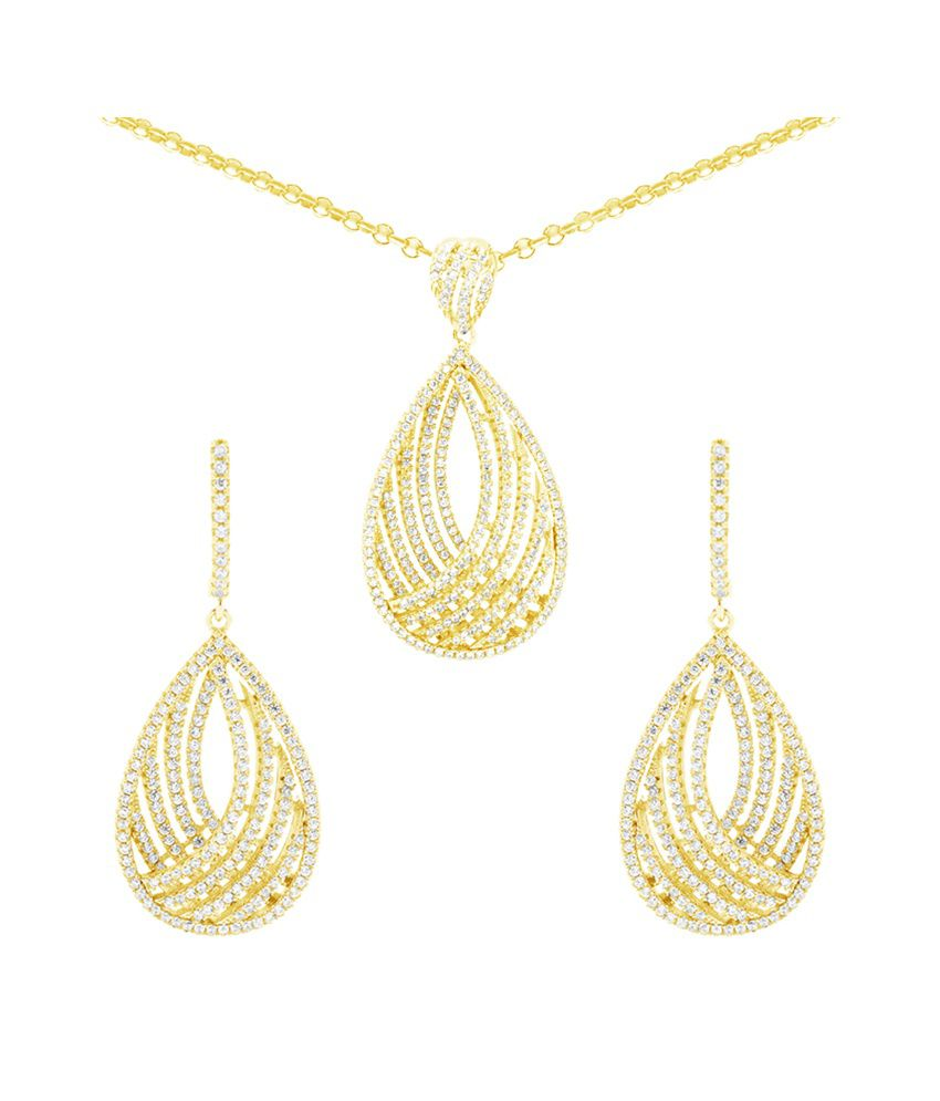 Gemtogems 92.5 Sterling Silver Modified Drop Style Necklace Set