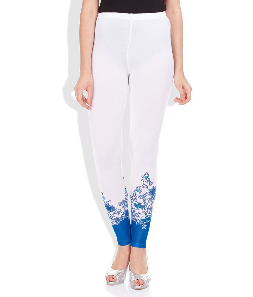 Melange White & Blue Printed Leggings Price in India - Buy Melange ...