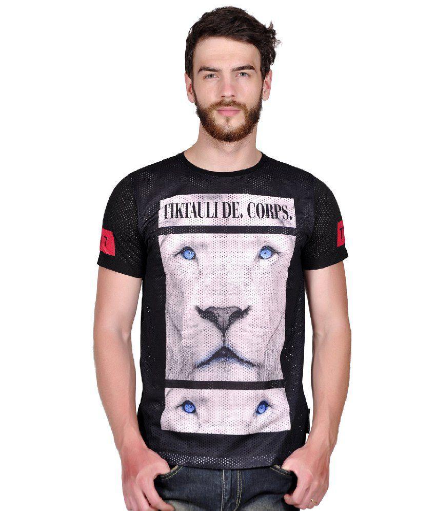 Tiktauli de. Corps. Polyester Black Honing Lion T-Shirt