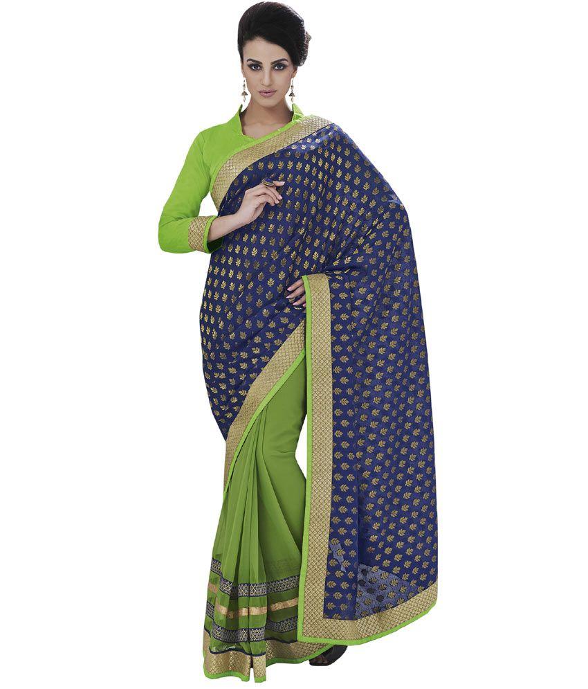 Indian Women Blue Viscose Saree