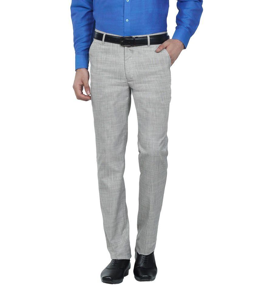 Hideouts Beige Flat PV Linen Comfort Fit Trouser For Men