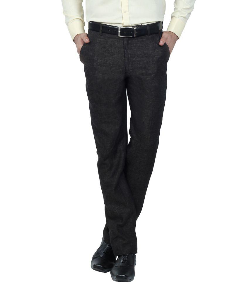Hideouts Black Flat 100% Linen Comfort Fit Trouser For Men