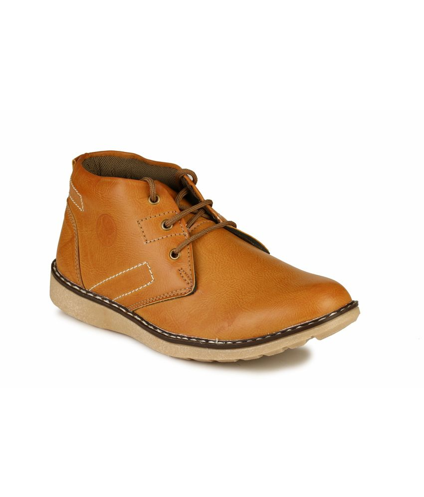 Mactree Tan Leather Daily Wear Real Tuff Casual Boots