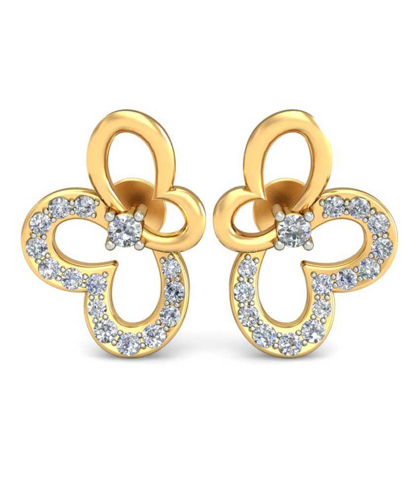 Ornomart 14k BIS Hallmarked Gold Diamond Studs