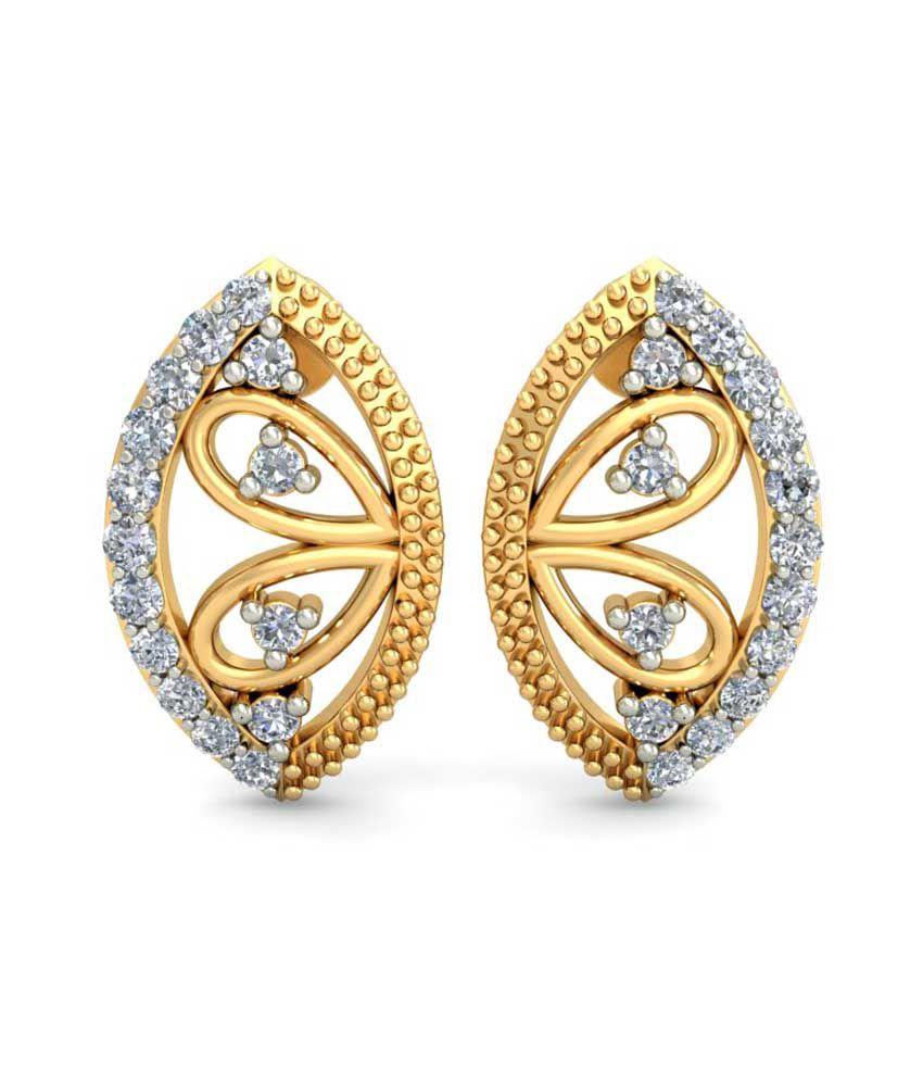 Ornomart Golden Diamonds Real Diamond Earrings 14Kt Gold 100% Certified