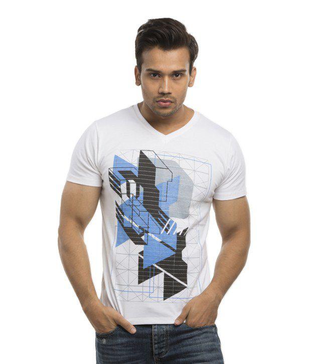 Cult Fiction White Cotton V-Neck T Shirt