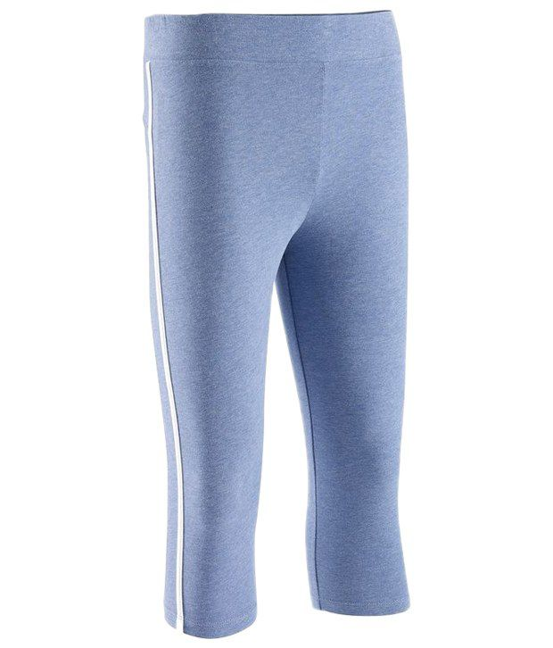 Domyos Blue Cropped Fitness Leggings For Girls
