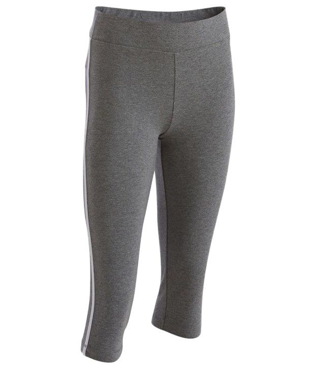 Domyos Gray Cropped Fitness Leggings For Girls