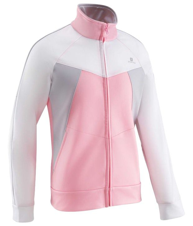 Domyos Pink & White Full Sleeves Fitness Jacket For Women
