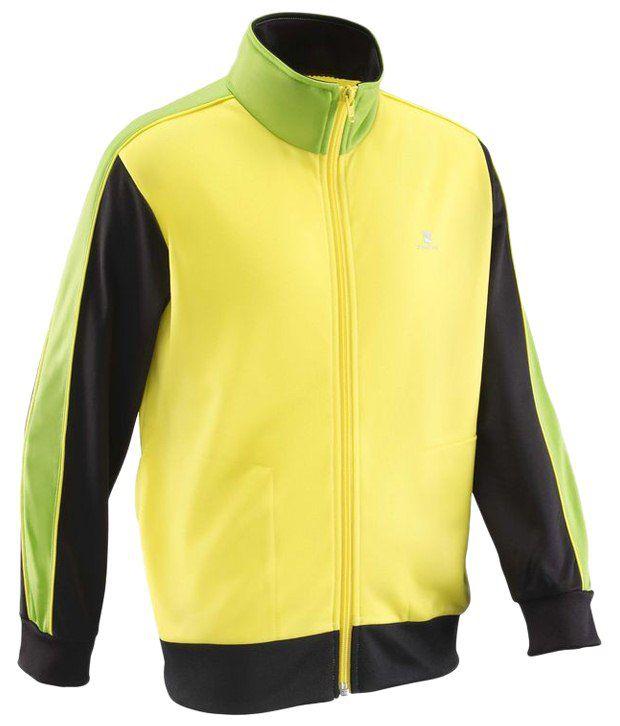 Domyos Yellow & Black Full Sleeves Fitness Jacket For Boys