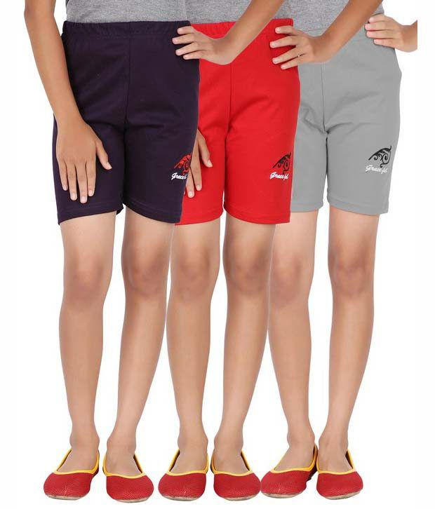 Graceful Multicolor Cotton Solids Shorts - Pack Of 3