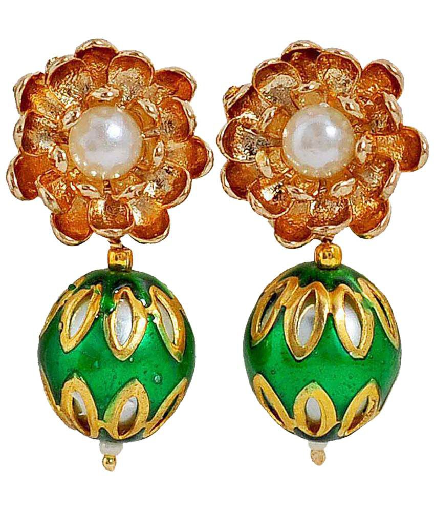 Maayra Exquisite Green & Golden Pearl Drop Earrings