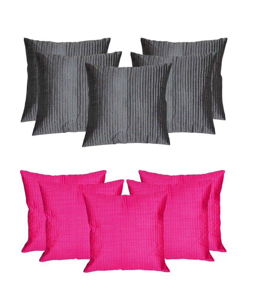 4031ea72abb Mesleep Pink Grey Stripe Quilted Cushion Cover available at SnapDeal for Rs .699