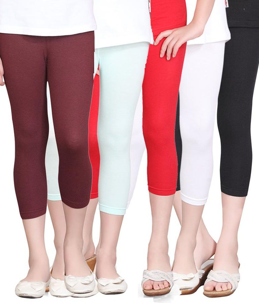 Sinimini Multicolour Cotton Elastic Capris