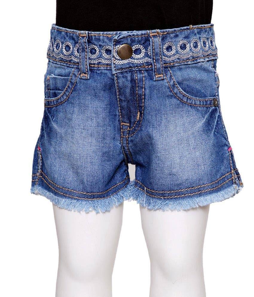 Tales & Stories Blue Solids Denim Shorts