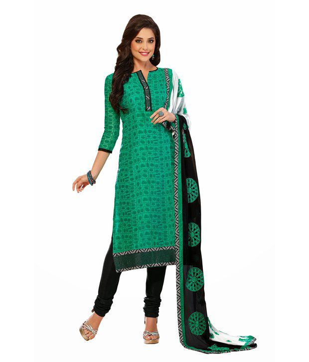 Zohraa Green Cotton Unstitched Dress Material