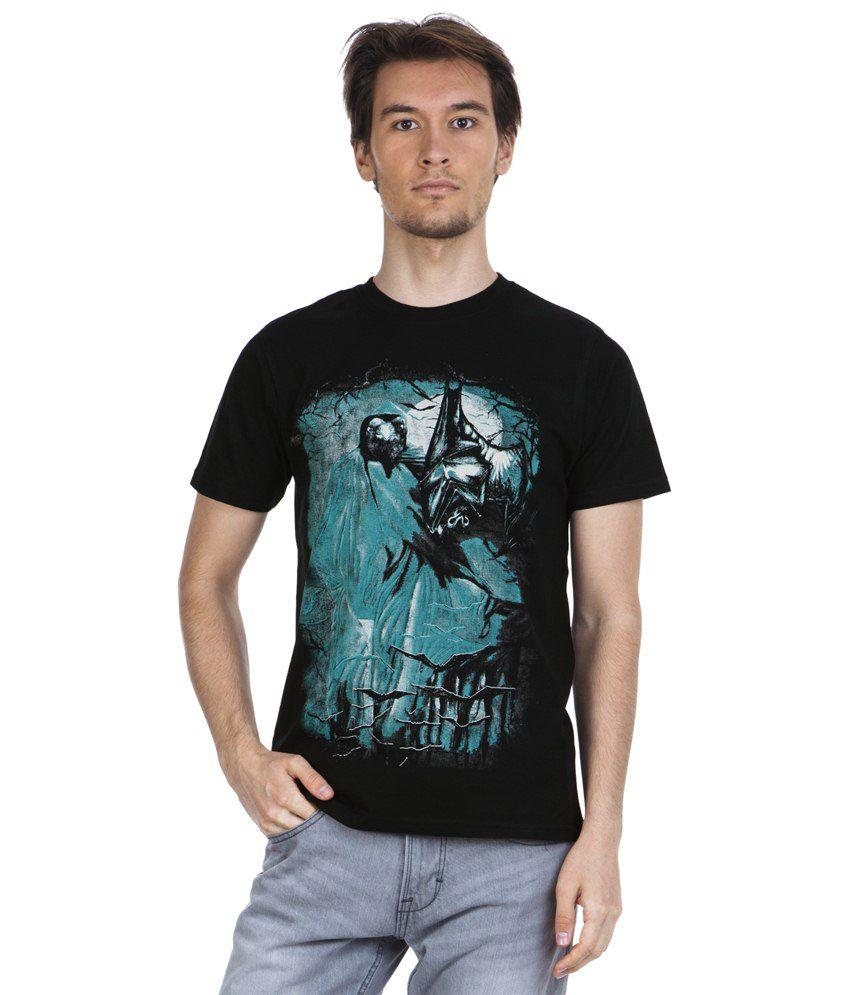 Zovi Bats Black & Blue Graphic Half Sleeve T Shirt