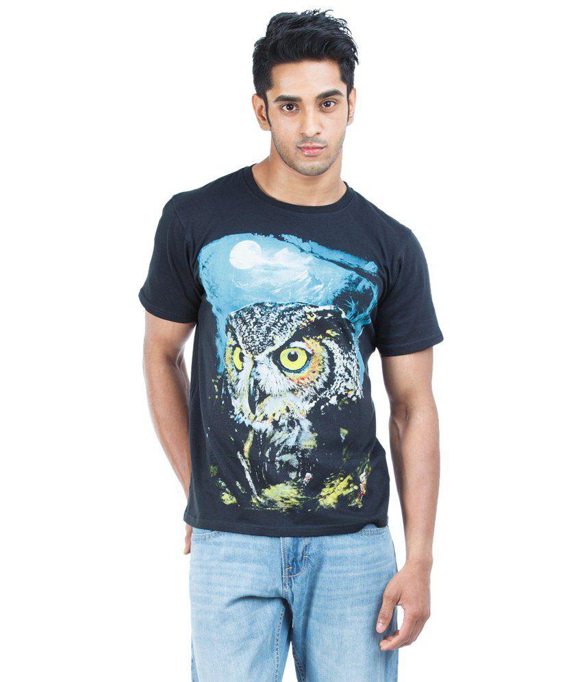 Zovi Owl Print Heritage Blue Graphic T Shirt