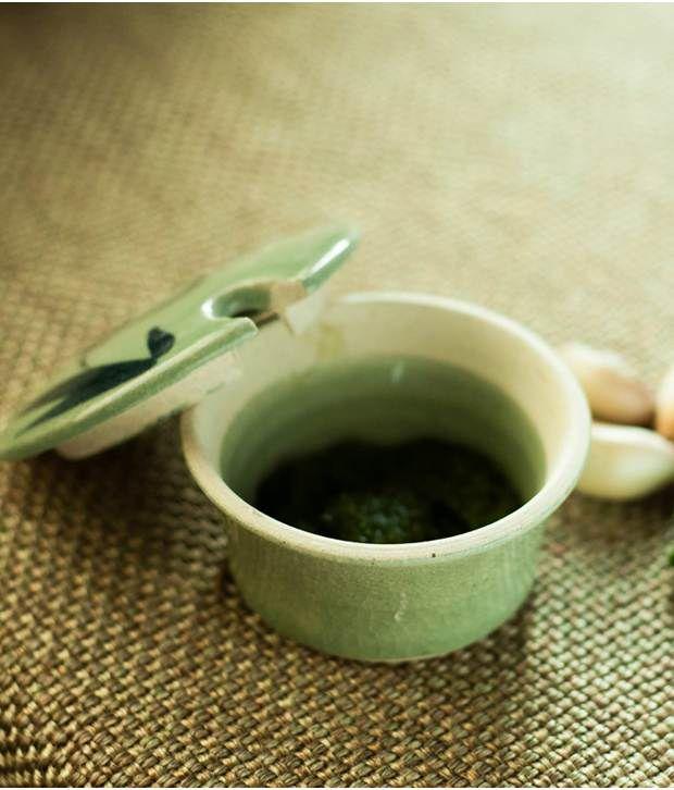 Exclusivelane Handcrafted Studio Pottery Salt Box In Celadon Green