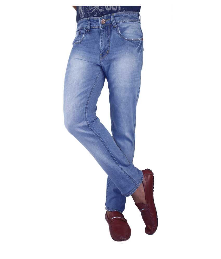 Flying Port Blue Cotton Blend Slim Fit Faded Jeans For Men