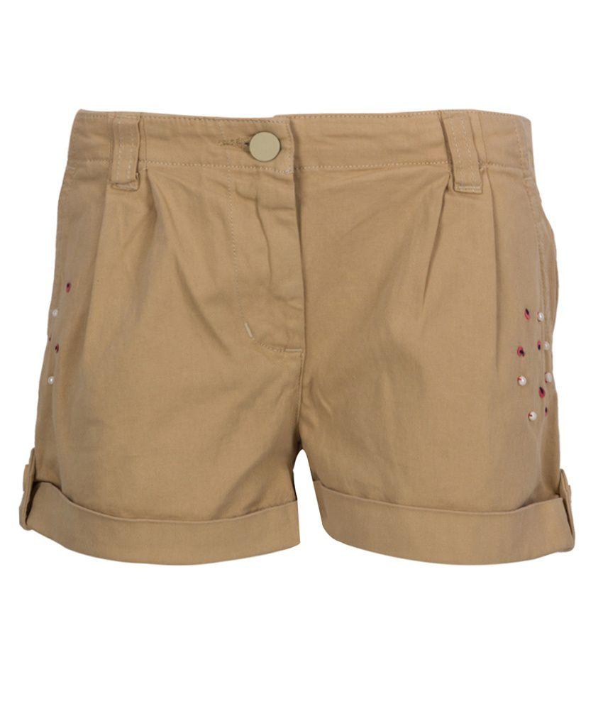 Miss Alibi Beige Cotton Shorts