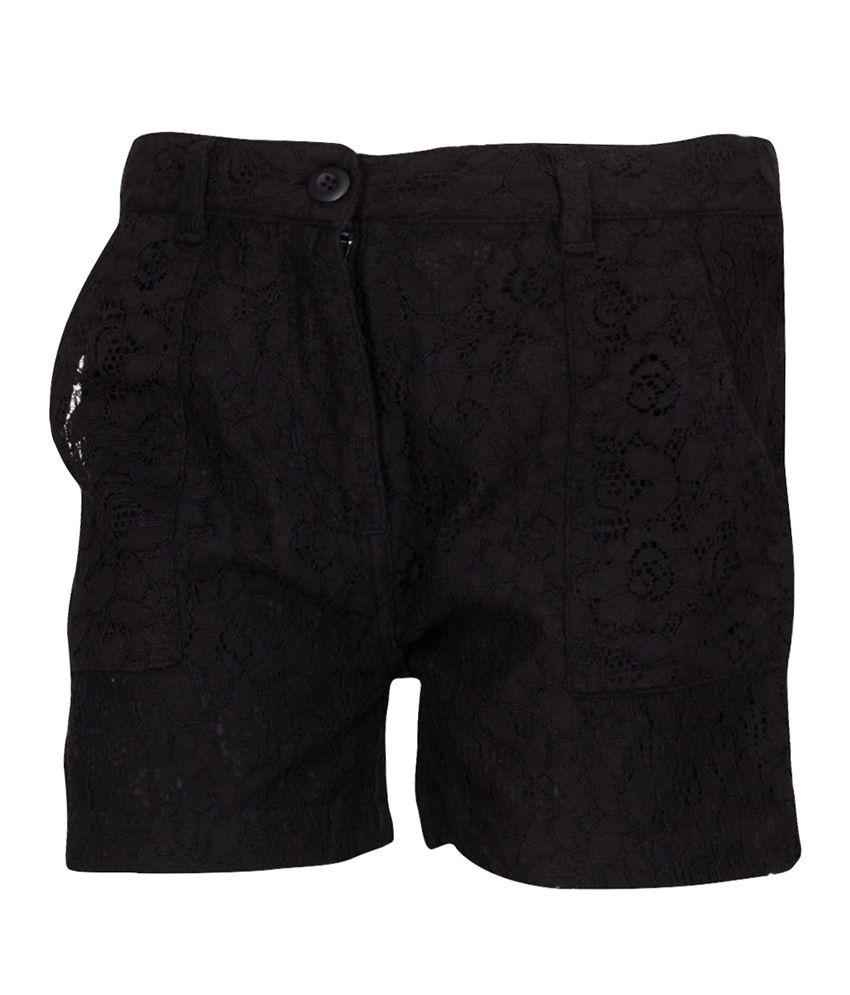 Miss Alibi Black Cotton Shorts
