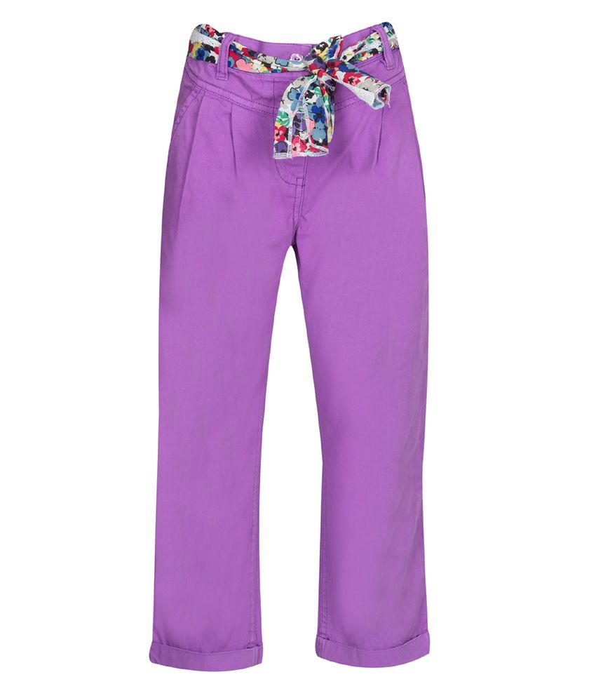 Miss Alibi Purple Cotton Capri