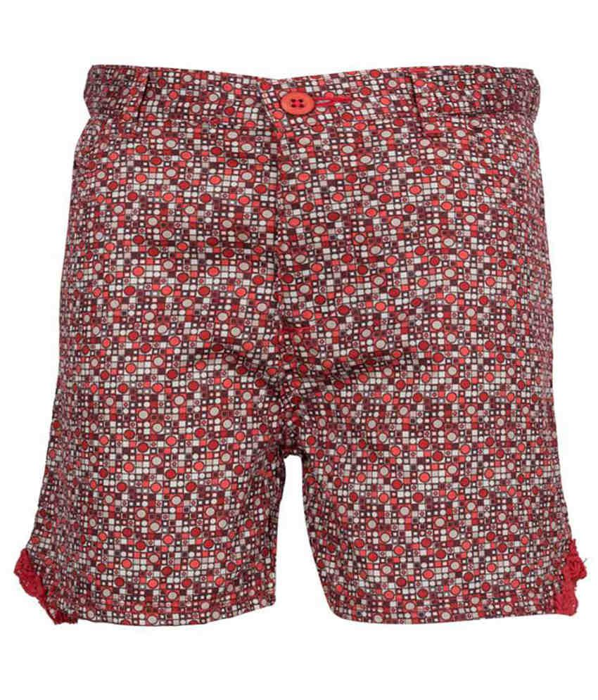 Miss Alibi Red Cotton Shorts