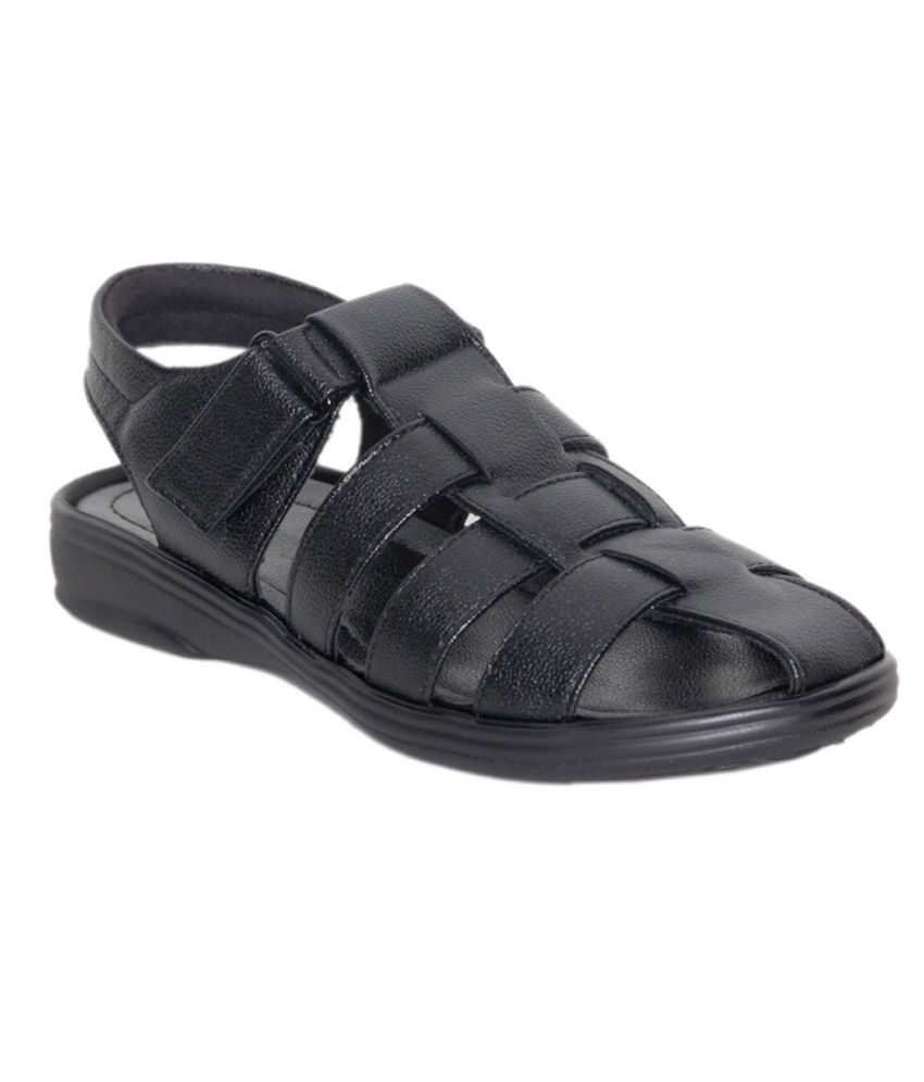 Velcro Black Synthetic Leather Sandals For Men