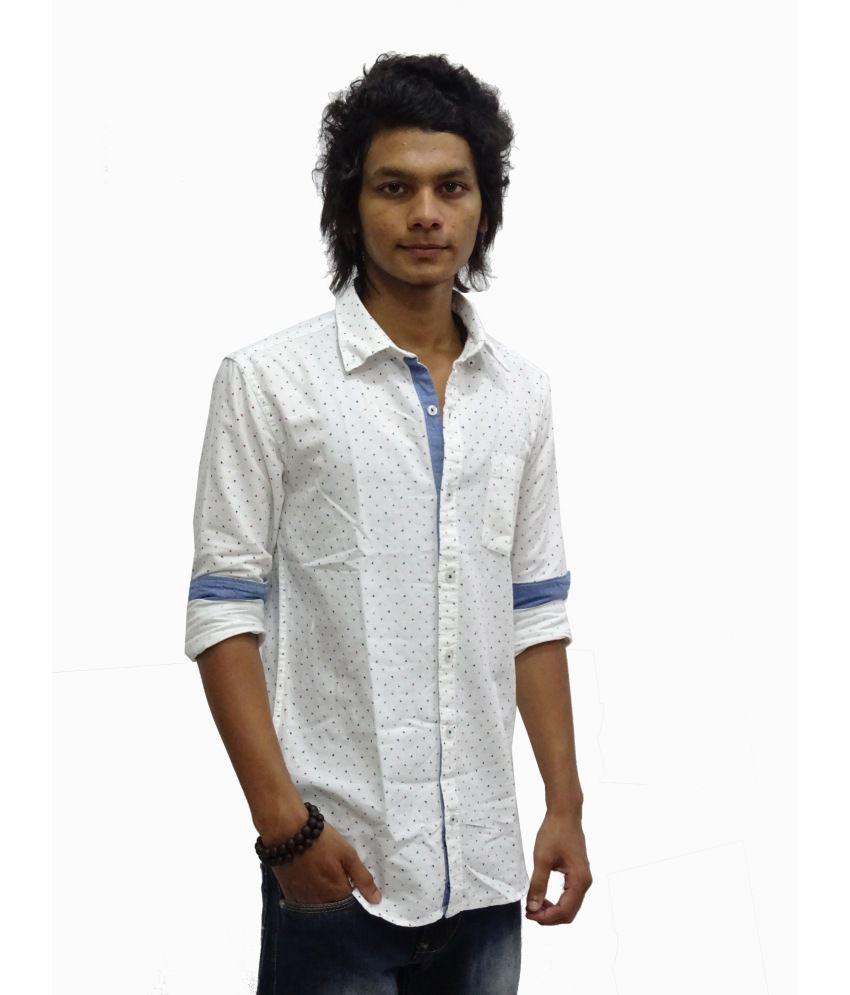 3196612a Zara White Printed Casual Shirt For Men - Buy Zara White Printed ...